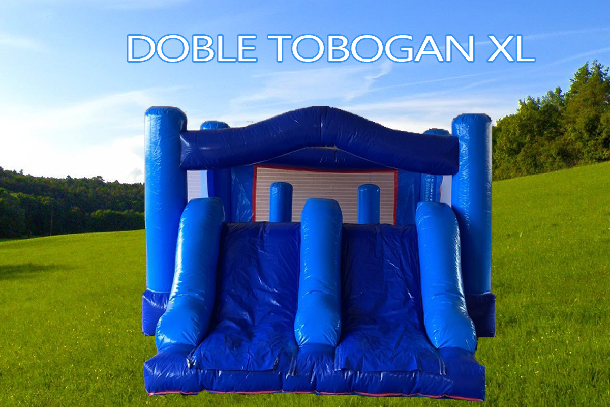 Castillo Hinchable Alquiler Doble Tobogan XL azul PVC